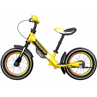 Детский алюминиевый беговел с ручным тормозом и надувными колёсами Small Rider Roadster 3 Sport Air Жёлтый - 3