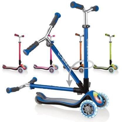 Складные трёхколёсные самокаты Globber Elite Prime. Цвета: Синий, Красный, Оранжевый, Лайм, Розовый