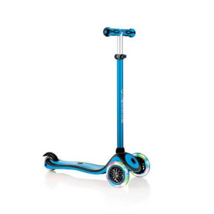 Трехколесный самокат со светящимися колёсами и цветным рулём Globber Primo Plus Lights Color голубой - 1