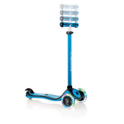 Трехколесный самокат со светящимися колёсами и цветным рулём Globber Primo Plus Lights Color голубой - 2