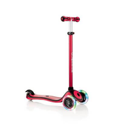 Трехколесный самокат со светящимися колёсами и цветным рулём Globber Primo Plus Lights Color красный - 1