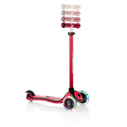 Трехколесный самокат со светящимися колёсами и цветным рулём Globber Primo Plus Lights Color красный - 2