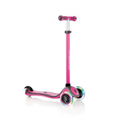 Трехколесный самокат со светящимися колёсами и цветным рулём Globber Primo Plus Lights Color розовый - 1
