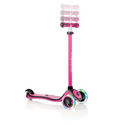 Трехколесный самокат со светящимися колёсами и цветным рулём Globber Primo Plus Lights Color розовый - 2