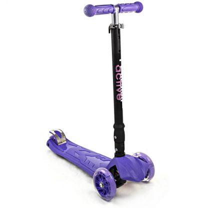 Трёхколёсный самокат со складной регулируемой ручкой и светящимися колёсами Triumf Active Maxi Flash Plus SKL-07CL Фиолетовый - 1