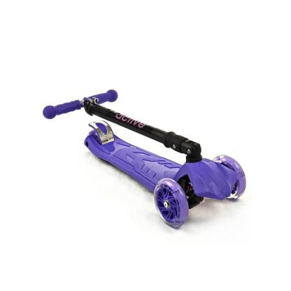 Трёхколёсный самокат со складной регулируемой ручкой и светящимися колёсами Triumf Active Maxi Flash Plus SKL-07CL Фиолетовый - 2