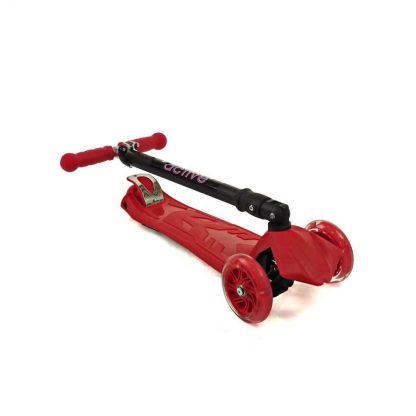 Трёхколёсный самокат со складной регулируемой ручкой и светящимися колёсами Triumf Active Maxi Flash Plus SKL-07CL Красный - 2