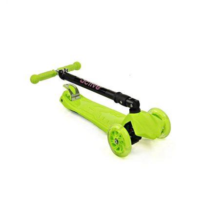 Трёхколёсный самокат со складной регулируемой ручкой и светящимися колёсами Triumf Active Maxi Flash Plus SKL-07CL Салатовый - 2