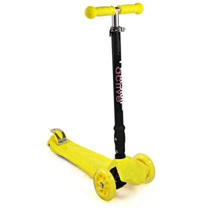 Трёхколёсный самокат со складной регулируемой ручкой и светящимися колёсами Triumf Active Maxi Flash Plus SKL-07CL Жёлтый - 1
