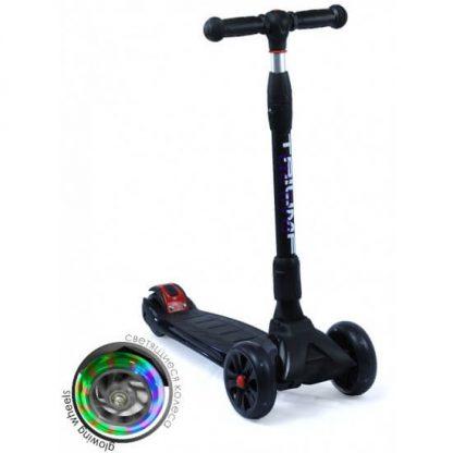 Трёхколёсный самокат со складной регулируемой ручкой и светящимися колёсами Triumf Active Maxi Pro Flash SKL-L-02 Чёрный - 1