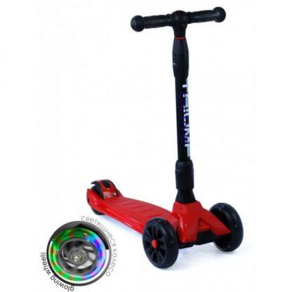 Трёхколёсный самокат со складной регулируемой ручкой и светящимися колёсами Triumf Active Maxi Pro Flash SKL-L-02 Красный - 1