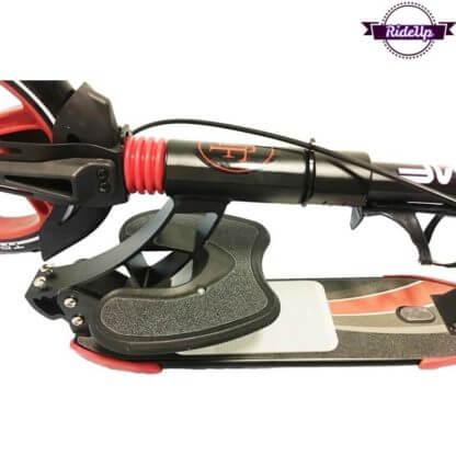 Двухколёсный самокат с подставкой для ребёнка, ручным тормозом и двумя амортизаторами Triumf Active K5 Красный - 3