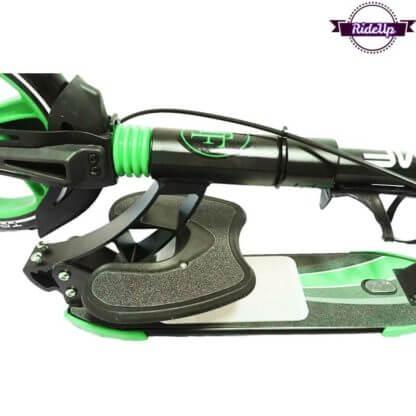 Двухколёсный самокат с подставкой для ребёнка, ручным тормозом и двумя амортизаторами Triumf Active K5 Зелёный - 3