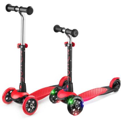 Трехколесный детский самокат со светящимися колесами Zycom Zing Mini LUW Чёрно-красный