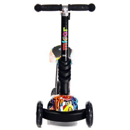 Трёхколёсный самокат-беговел Scooter Micar Rider 3 в 1 Graffiti с сиденьем, съёмной регулируемой ручкой и светящимися колёсами - 2