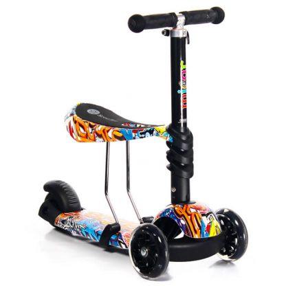 Трёхколёсный самокат-беговел Scooter Micar Rider 3 в 1 Graffiti с сиденьем, съёмной регулируемой ручкой и светящимися колёсами - 3
