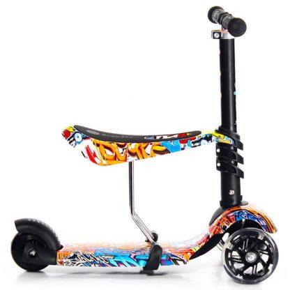 Трёхколёсный самокат-беговел Scooter Micar Rider 3 в 1 Graffiti с сиденьем, съёмной регулируемой ручкой и светящимися колёсами - 4
