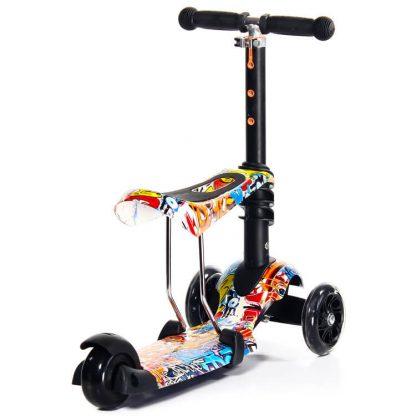 Трёхколёсный самокат-беговел Scooter Micar Rider 3 в 1 Graffiti с сиденьем, съёмной регулируемой ручкой и светящимися колёсами - 5