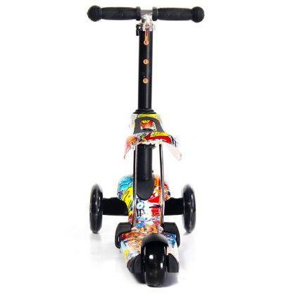Трёхколёсный самокат-беговел Scooter Micar Rider 3 в 1 Graffiti с сиденьем, съёмной регулируемой ручкой и светящимися колёсами - 6