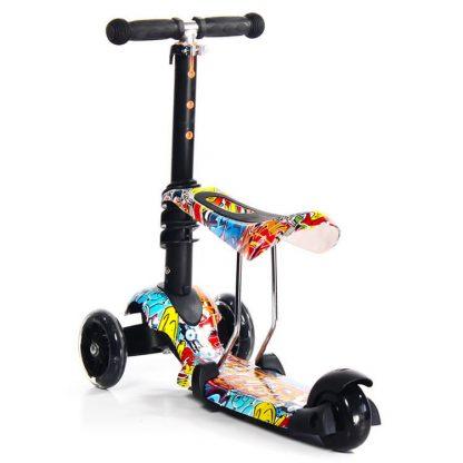 Трёхколёсный самокат-беговел Scooter Micar Rider 3 в 1 Graffiti с сиденьем, съёмной регулируемой ручкой и светящимися колёсами - 7