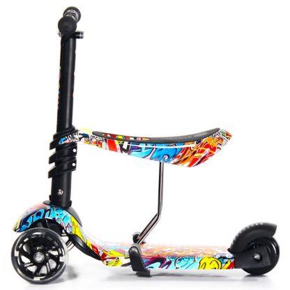 Трёхколёсный самокат-беговел Scooter Micar Rider 3 в 1 Graffiti с сиденьем, съёмной регулируемой ручкой и светящимися колёсами - 8