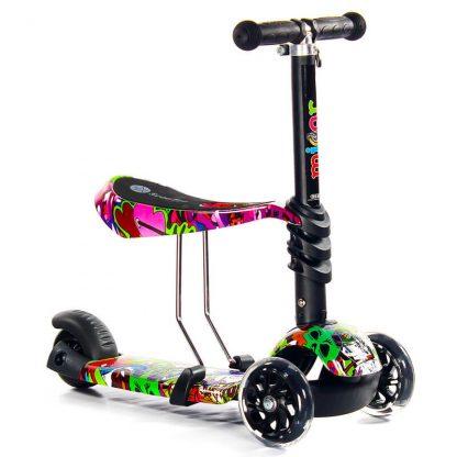 Трёхколёсный самокат-беговел Scooter Micar Rider 3 в 1 Hip-Hop с сиденьем, съёмной регулируемой ручкой и светящимися колёсами - 3