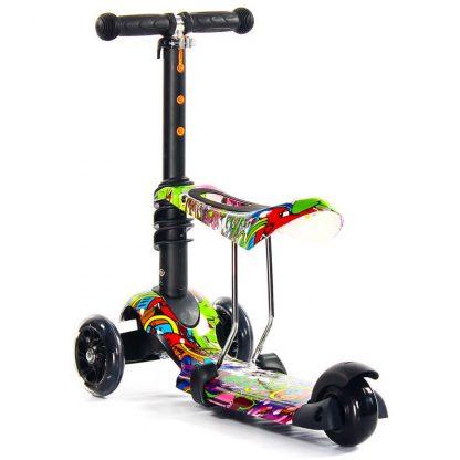 Трёхколёсный самокат-беговел Scooter Micar Rider 3 в 1 Hip-Hop с сиденьем, съёмной регулируемой ручкой и светящимися колёсами - 4