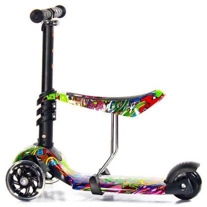 Трёхколёсный самокат-беговел Scooter Micar Rider 3 в 1 Hip-Hop с сиденьем, съёмной регулируемой ручкой и светящимися колёсами - 5