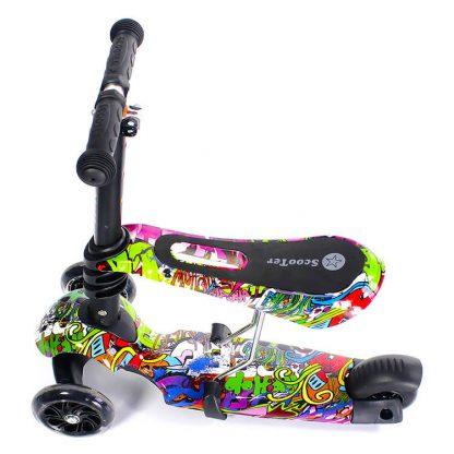 Трёхколёсный самокат-беговел Scooter Micar Rider 3 в 1 Hip-Hop с сиденьем, съёмной регулируемой ручкой и светящимися колёсами - 6