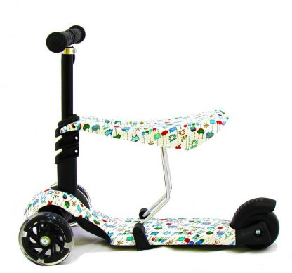 Трёхколёсный самокат-беговел Scooter Micar Rider 3 в 1 Pixels с сиденьем, съёмной регулируемой ручкой и светящимися колёсами - 2
