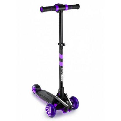 Трёхколёсный самокат с подсветкой платформы, звуковым эффектом и широкими светящимися колёсами Small Rider Premium Pro 2 Фиолетовый - 1