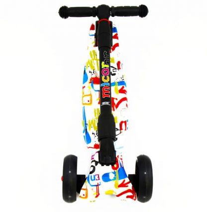 Трёхколёсный самокат Scooter Maxi Micar Ultra Graffiti со складной регулируемой ручкой и светящимися колёсами - 5