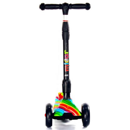 Трёхколёсный самокат Scooter Maxi Micar Ultra Rainbow со складной регулируемой ручкой и светящимися колёсами - 2