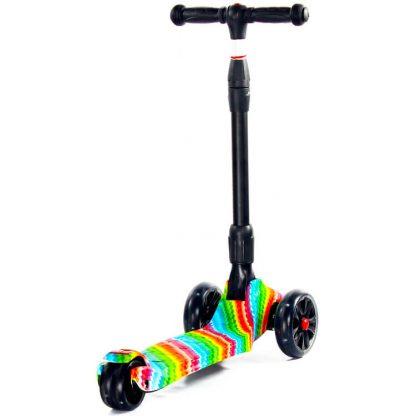Трёхколёсный самокат Scooter Maxi Micar Ultra Rainbow со складной регулируемой ручкой и светящимися колёсами - 5