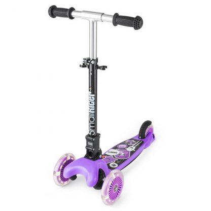Трёхколёсный самокат со складной регулируемой ручкой и светящимися колесами Small Rider Randy Flash Фиолетовый - 1