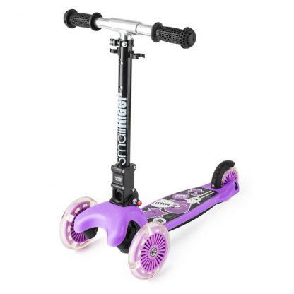 Трёхколёсный самокат со складной регулируемой ручкой и светящимися колесами Small Rider Randy Flash Фиолетовый - 2