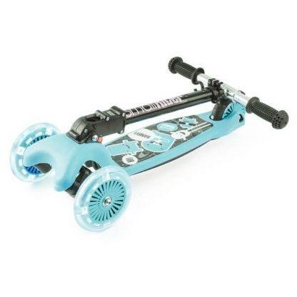 Трёхколёсный самокат со складной регулируемой ручкой и светящимися колесами Small Rider Randy Flash Аква - 2