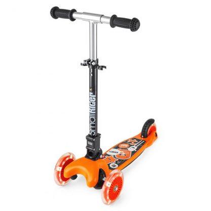 Трёхколёсный самокат со складной регулируемой ручкой и светящимися колесами Small Rider Randy Flash Оранжевый - 1