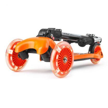 Трёхколёсный самокат со складной регулируемой ручкой и светящимися колесами Small Rider Randy Flash Оранжевый - 2