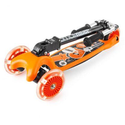 Трёхколёсный самокат со складной регулируемой ручкой и светящимися колесами Small Rider Randy Flash Оранжевый - 3