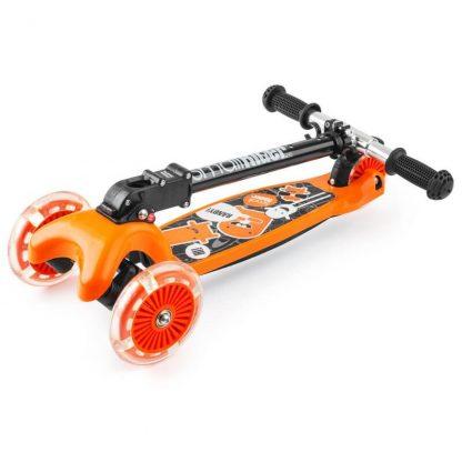 Трёхколёсный самокат со складной регулируемой ручкой и светящимися колесами Small Rider Randy Flash Оранжевый - 4