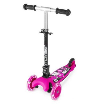 Трёхколёсный самокат со складной регулируемой ручкой и светящимися колесами Small Rider Randy Flash Розовый - 1
