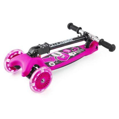 Трёхколёсный самокат со складной регулируемой ручкой и светящимися колесами Small Rider Randy Flash Розовый - 2