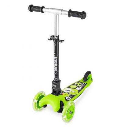 Трёхколёсный самокат со складной регулируемой ручкой и светящимися колесами Small Rider Randy Flash Зелёный - 1
