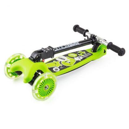 Трёхколёсный самокат со складной регулируемой ручкой и светящимися колесами Small Rider Randy Flash Зелёный - 2