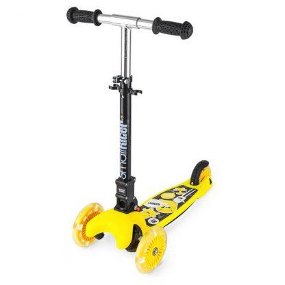 Трёхколёсный самокат со складной регулируемой ручкой и светящимися колесами Small Rider Randy Flash Жёлтый - 1