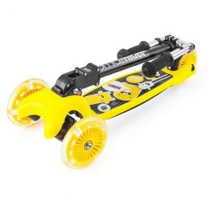 Трёхколёсный самокат со складной регулируемой ручкой и светящимися колесами Small Rider Randy Flash Жёлтый - 2