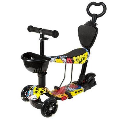 Детский трёхколёсный самокат 5 в 1 с сиденьем, родительской ручкой и светящимися колёсами 21st Scooter 5 in 1 Print Джокер - 1