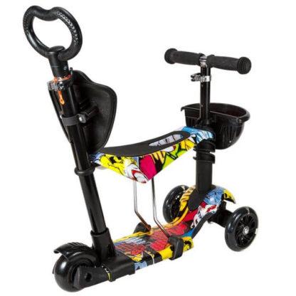 Детский трёхколёсный самокат 5 в 1 с сиденьем, родительской ручкой и светящимися колёсами 21st Scooter 5 in 1 Print Джокер - 2