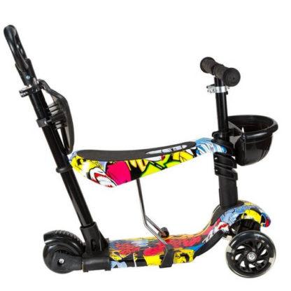 Детский трёхколёсный самокат 5 в 1 с сиденьем, родительской ручкой и светящимися колёсами 21st Scooter 5 in 1 Print Джокер - 3